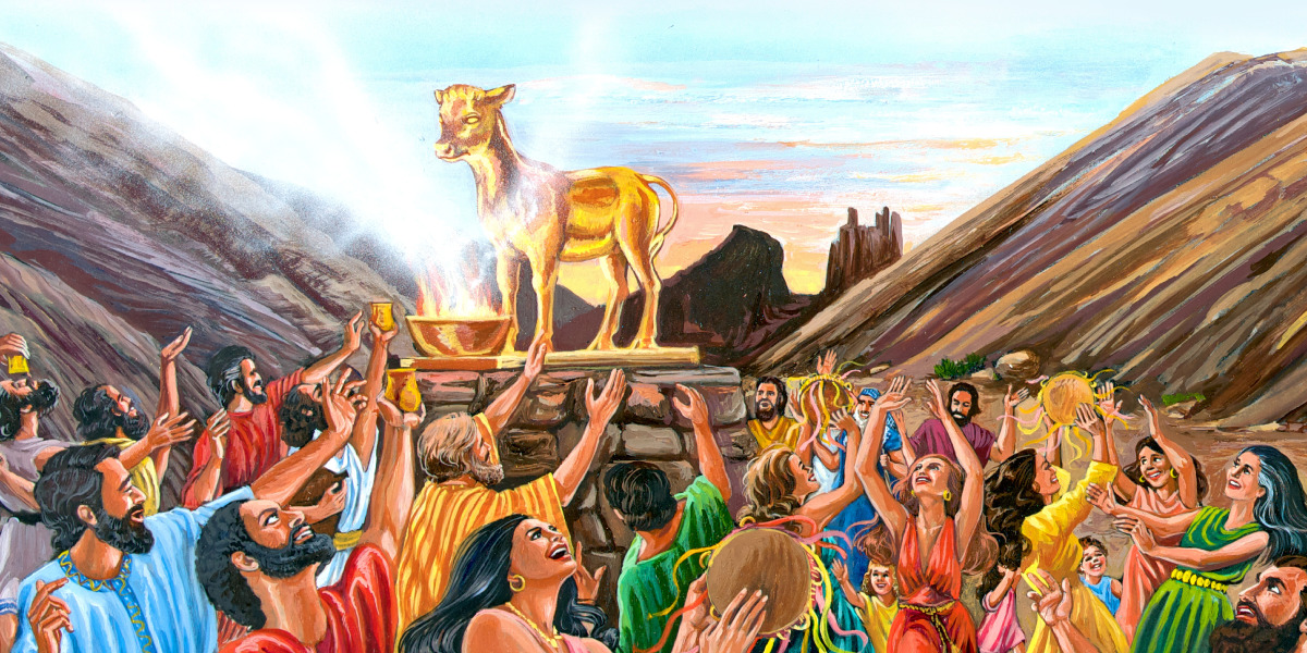 The Israelites singing, dancing, and worshipping the golden calf