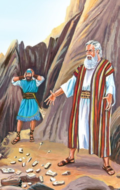 Moses breaks the stone tablets that have the Ten Commandments written on them