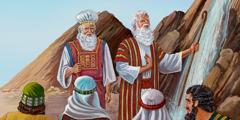 Mozes en Aäron die zeggen dat zij water uit de rots hebben laten komen