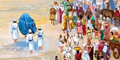 الكهنة يقفون وسط النهر الجاف حاملين تابوت العهد على اكتافهم، فيما يعبر الشعب النهر