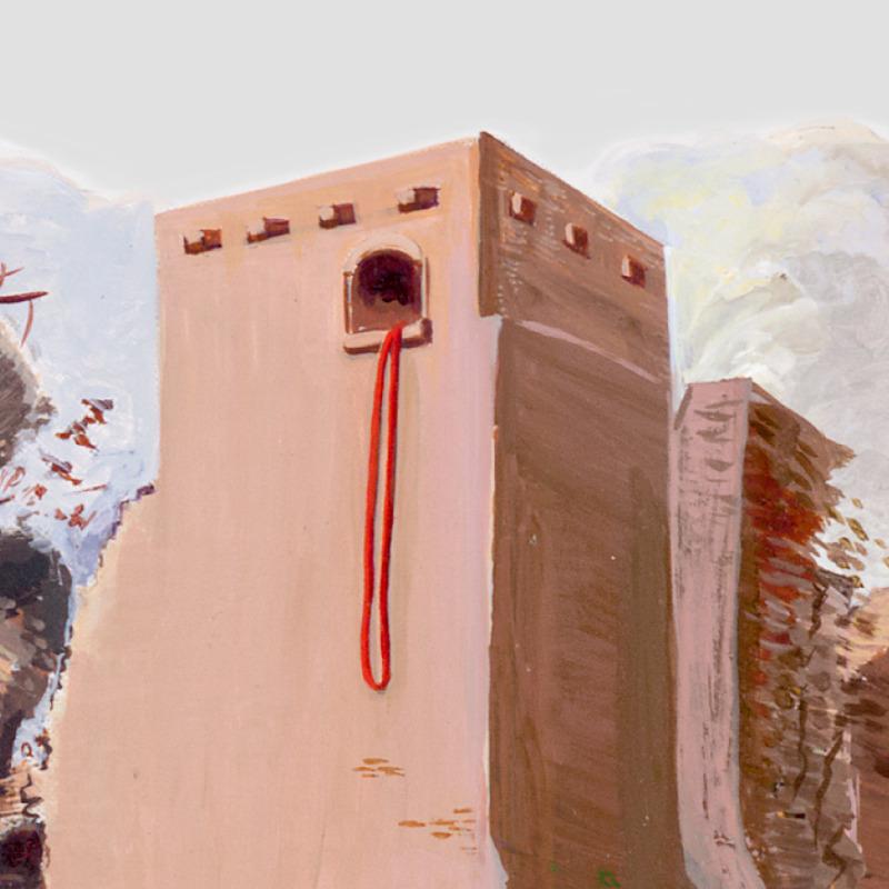 Die Mauer von Jericho stürzt ein, nur das Haus von Rahab, an dem die rote Schnur hängt, bleibt stehen