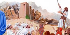 Joshua leads the Israelites who shout and blow their horns as the walls of Jericho fall