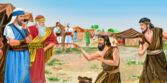 Gibeonites in the camp of Israel show Joshua their ragged clothes and old dry bread