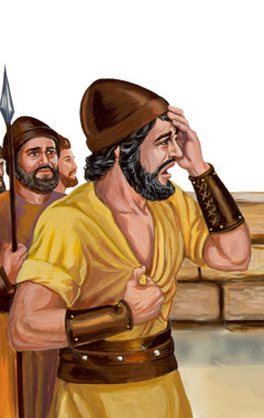 Jephthah sad at seeing his daughter come out first to meet him