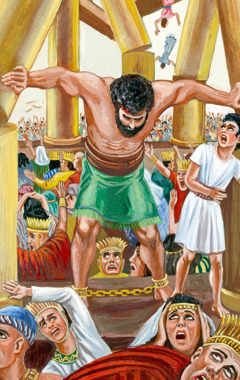 Samson pushes against the pillars so that the building falls down on the Philistines