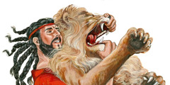Samson kills a lion with his bare hands