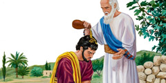 The prophet Samuel pours anointing oil on Saul's head