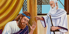 The prophet Nathan talking to King David
