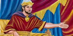 המלך שלמה יושב על כס המלוכה