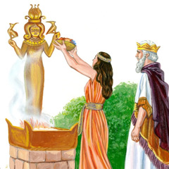 An aged King Solomon with one of his wives, as she is worshiping an idol