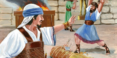 Josiah and his men destroy the idols used in false worship