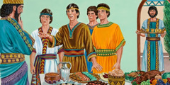 Daniel, Shadrach, Meshach, and Abednego refuse the food and wine of King Nebuchadnezzar