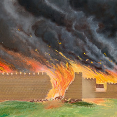 The walls of Jerusalem burning