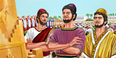 Shadrach, Meshach, and Abednego refuse to bow down to King Nebuchadnezzar's gold image