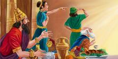 Цар Валтасар и гостите му гледат със страх и недоумение писмените знаци на стената