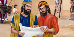 Nehemia en andere Israëlieten die de muren van Jeruzalem  herbouwen