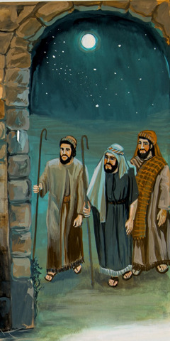Shepherds arrive in Bethlehem to see Jesus