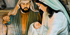Joseph, Mary and baby Jesus in the stable