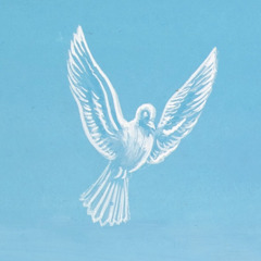 Holy spirit in the form of a dove coming down from heaven