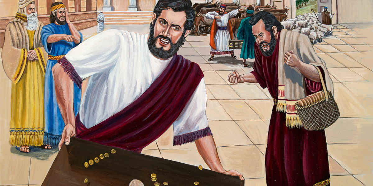 Jesus chases the money changers out of the temple and overturns their tables