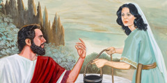 Jesus speaking to the Samaritan woman at the well