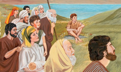 A crowd of people listening to Jesus' Sermon on the Mount