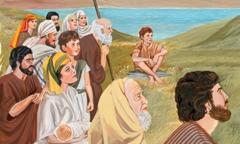 Eine Menschenmenge hört Jesus bei seiner Bergpredigt zu