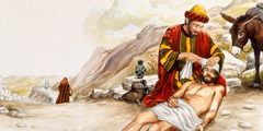The good Samaritan bandaging the wounds of the Jew who was beaten
