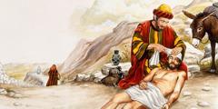 Den barmhärtige samariten förbinder såren på den skadade juden.