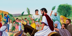 Jesus riding on a donkey as crowds wave palm branches