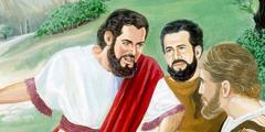 На Масличной горе Иисус говорит с апостолами