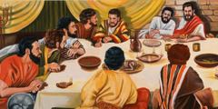 Jesus' last supper with his faithful apostles