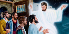 An angel opens the prison door, setting free Jesus' apostles