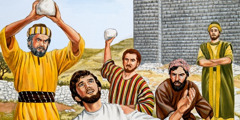 Stephen praying as he is being stoned by angry men