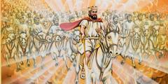Jeesus ja hänen taivaallinen armeijansa ratsastavat valkoisilla hevosilla