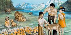 Menschen streicheln und füttern Tiere im Paradies