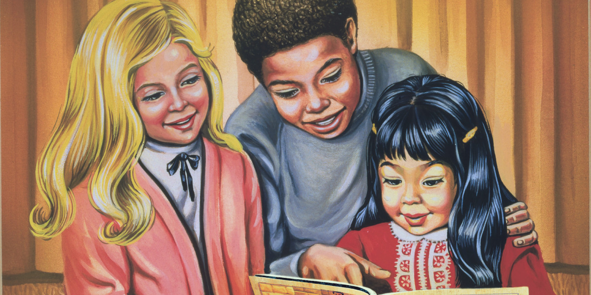 Three children reading 'My Book of Bible Stories'