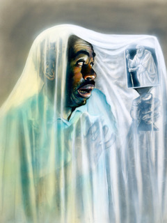 A man covered in a white cloth sees an image in a mirror