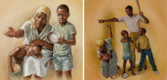 A widow and her children beg for food; a child watches a man physically abuse his mother