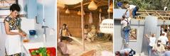 Una mujer lava unos vegetales; unos hombres hacen cestas de paja; unas personas trabajan en un proyecto de construcción