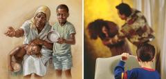 Una viuda y sus hijos piden comida; un niño ve como un hombre golpea a su mamá