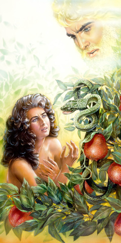Satan uses a serpent to speak to Eve