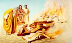 The Ephesians burn their books about magic