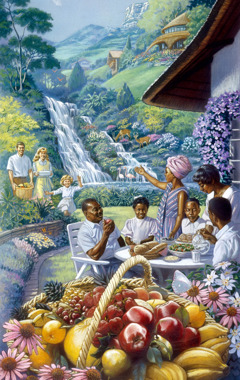 People of various races enjoy a meal together in Paradise