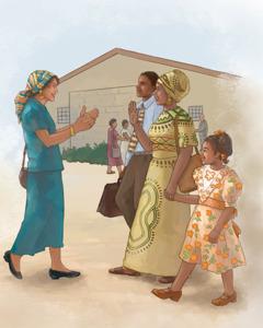 Wanfala woman meetim wanfala famili wea fren witim God