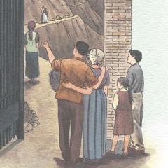 عائلة تقف قرب بوابة ضيقة وينظرون الى اشخاص يسيرون في طريق حرج