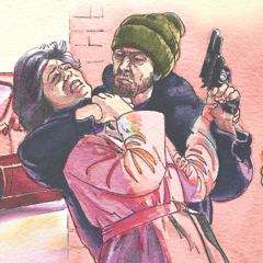 En mann truer en kvinne med pistol