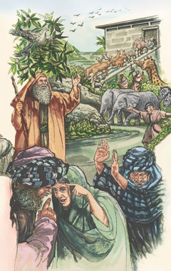 La gente mala no hace caso del mensaje de advertencia de Noé ni siquiera cuando él y su familia meten los animales en el arca