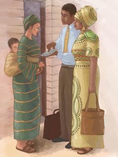 A Mboni za Yehova akulalikira kwa mayi wina