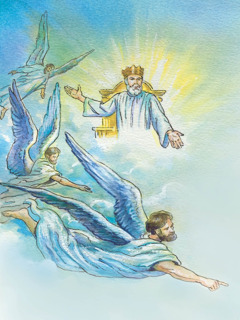 Jesus Christ as King of God's Kingdom, and angels directing the preaching work